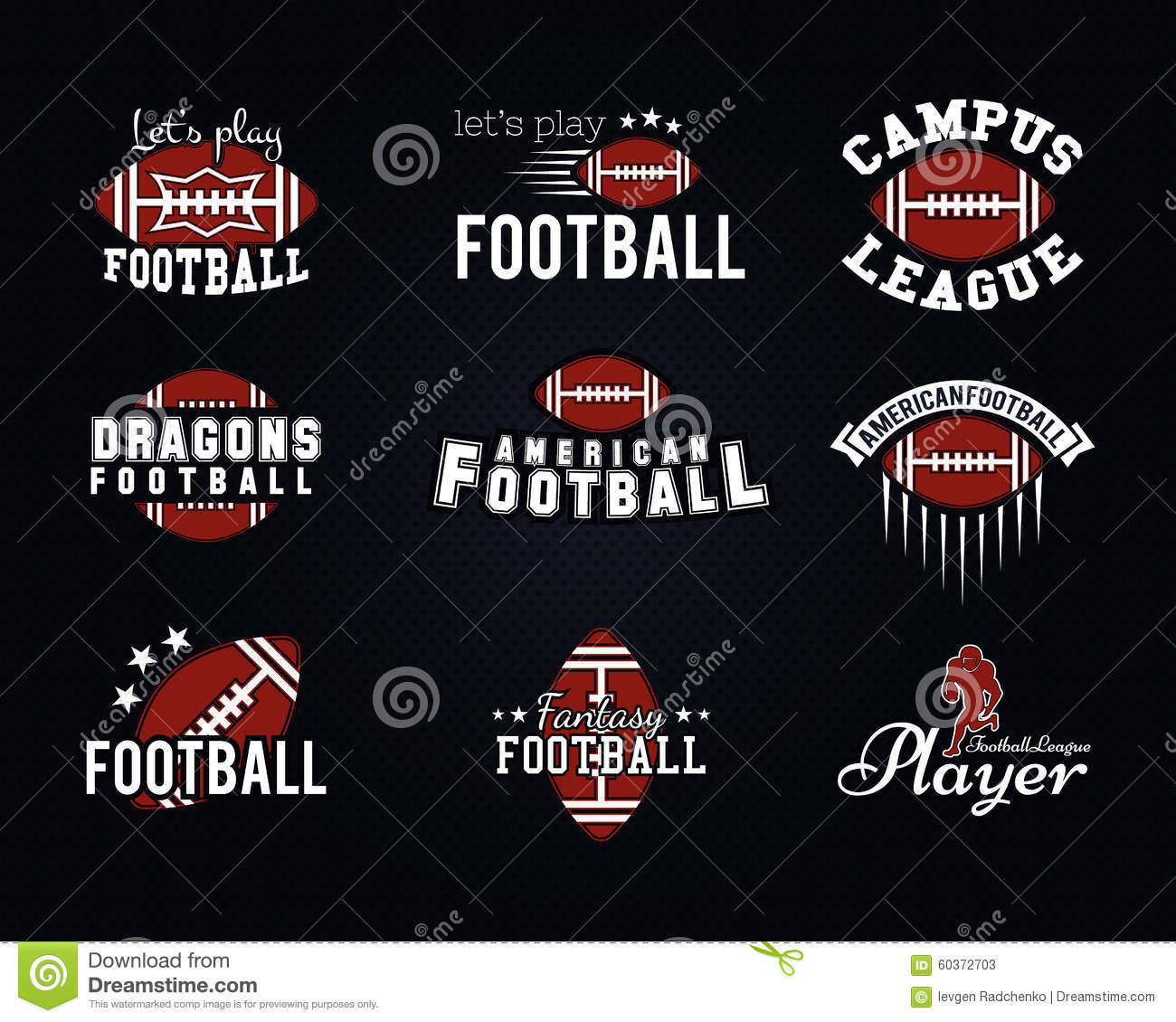 American football team college badges logos stock vector American football style t shirts