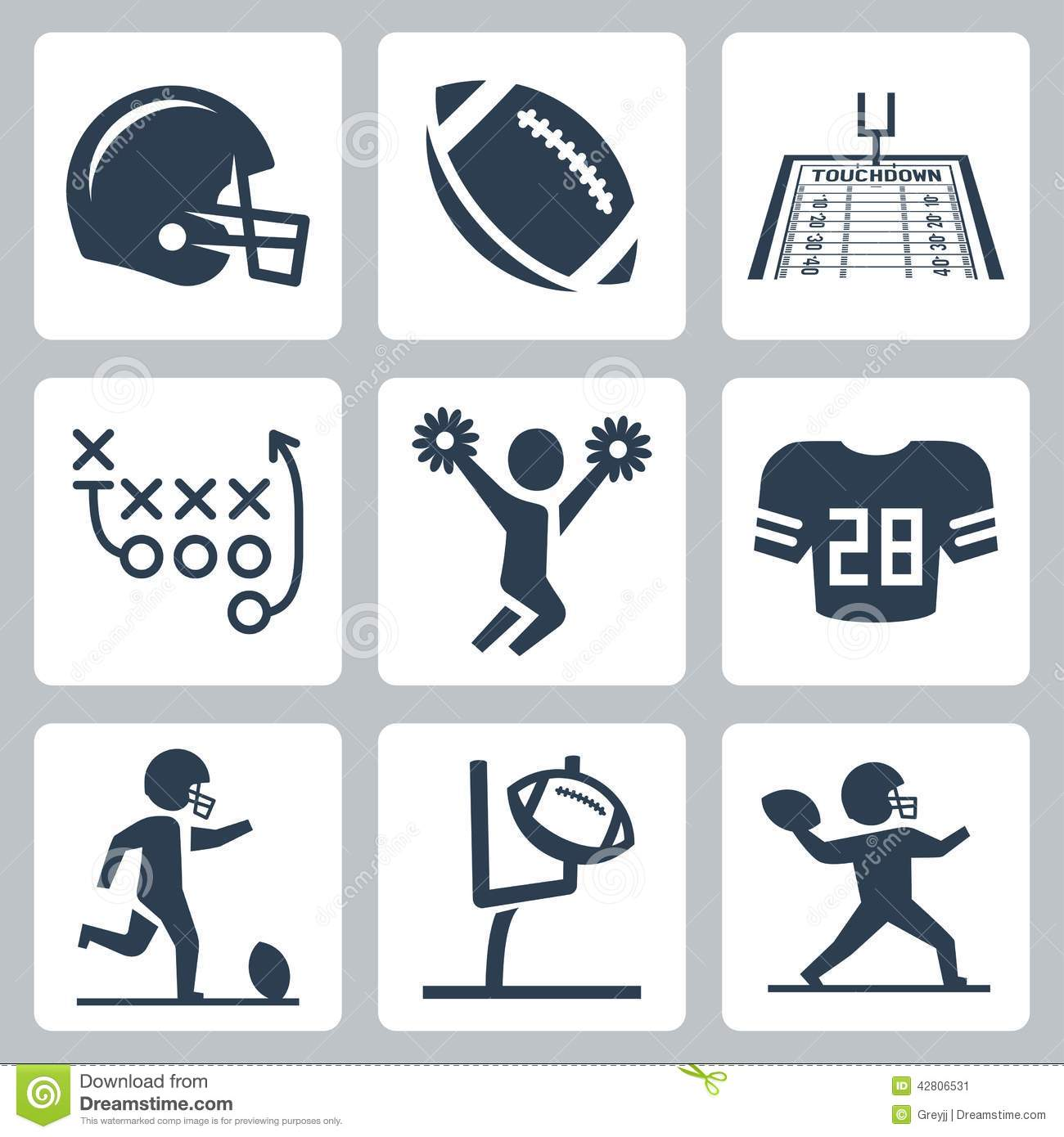 American Football Vector Icons Stock Vector Illustration Of