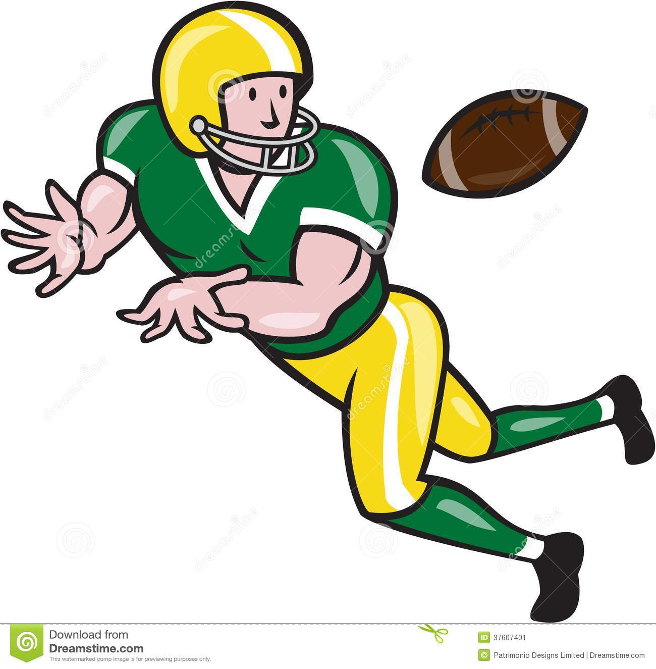 American Football Wide Receiver Catch Ball Cartoon Stock Image - Image ...