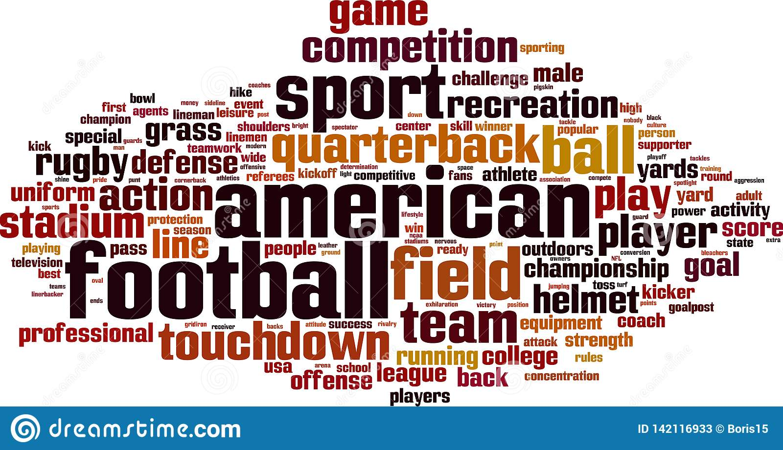 American Football Word Cloud Stock Vector - Illustration of