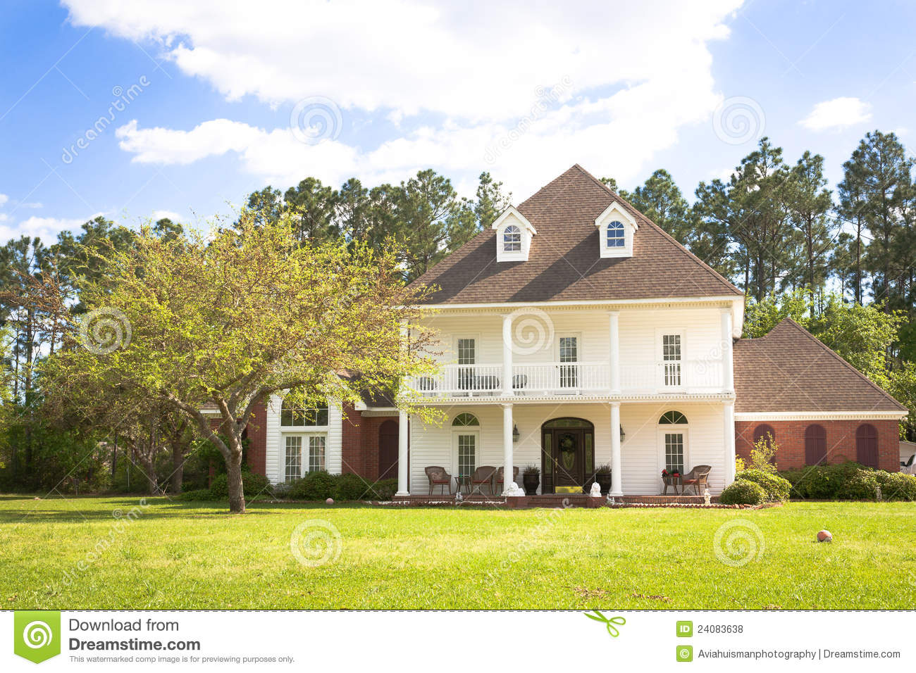 American Home Southern Style Mansion Royalty Free Stock