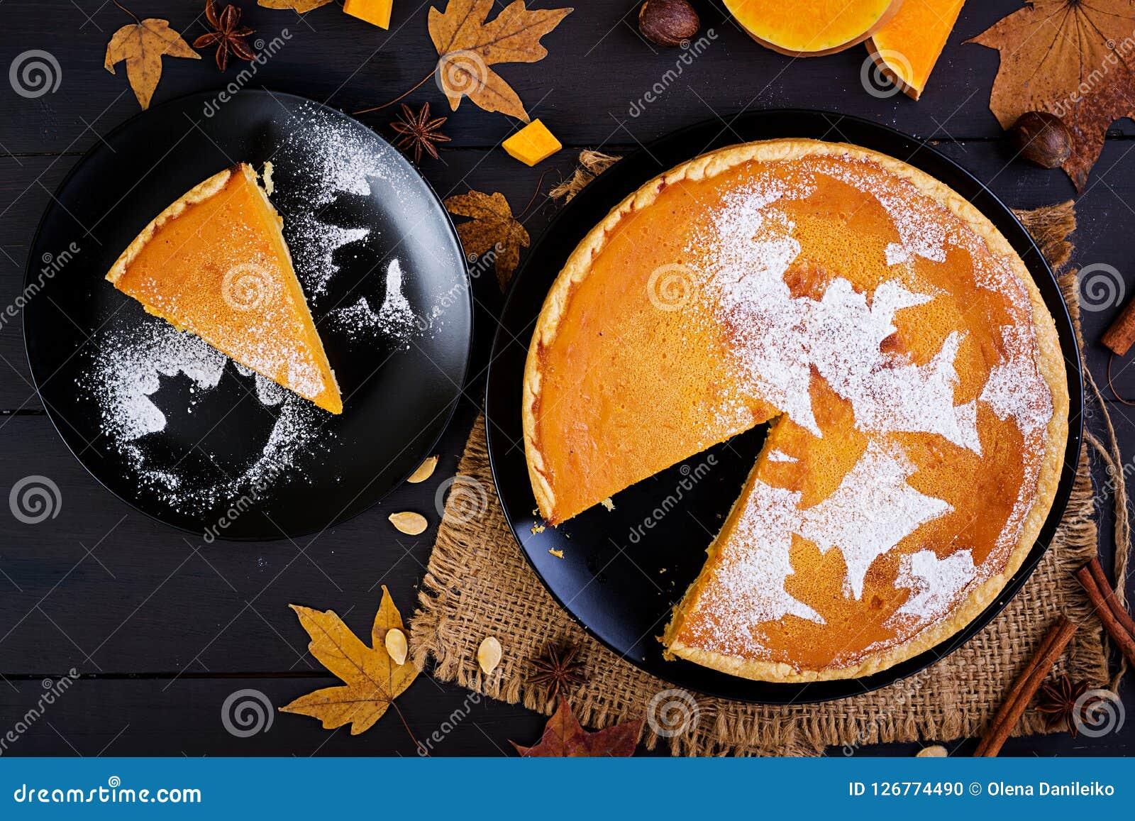 American homemade pumpkin pie with cinnamon and nutmeg