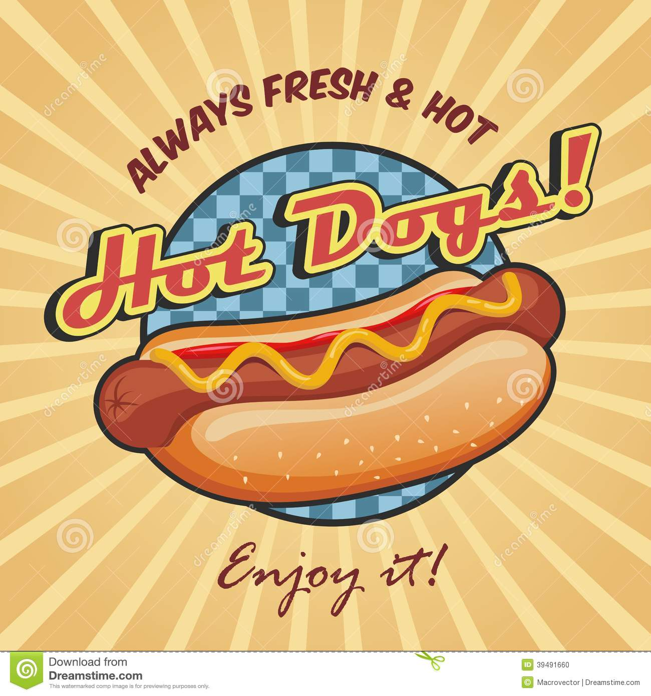American Hot Dog Poster Template Stock Vector Image