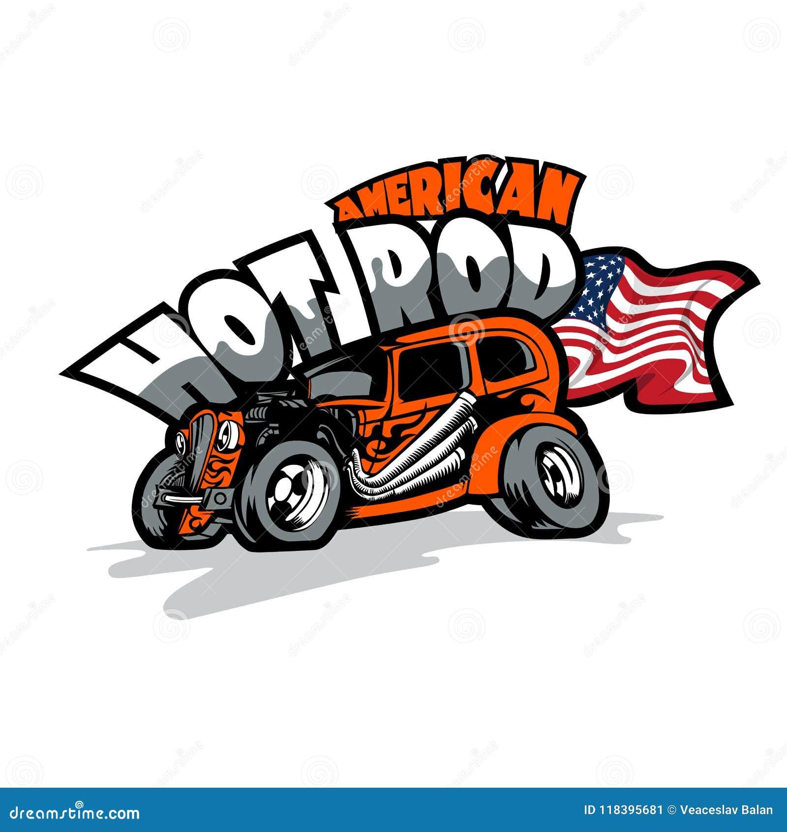 American Hot Rod, Custom Made Cars  T-Shirt Print Template  Stock