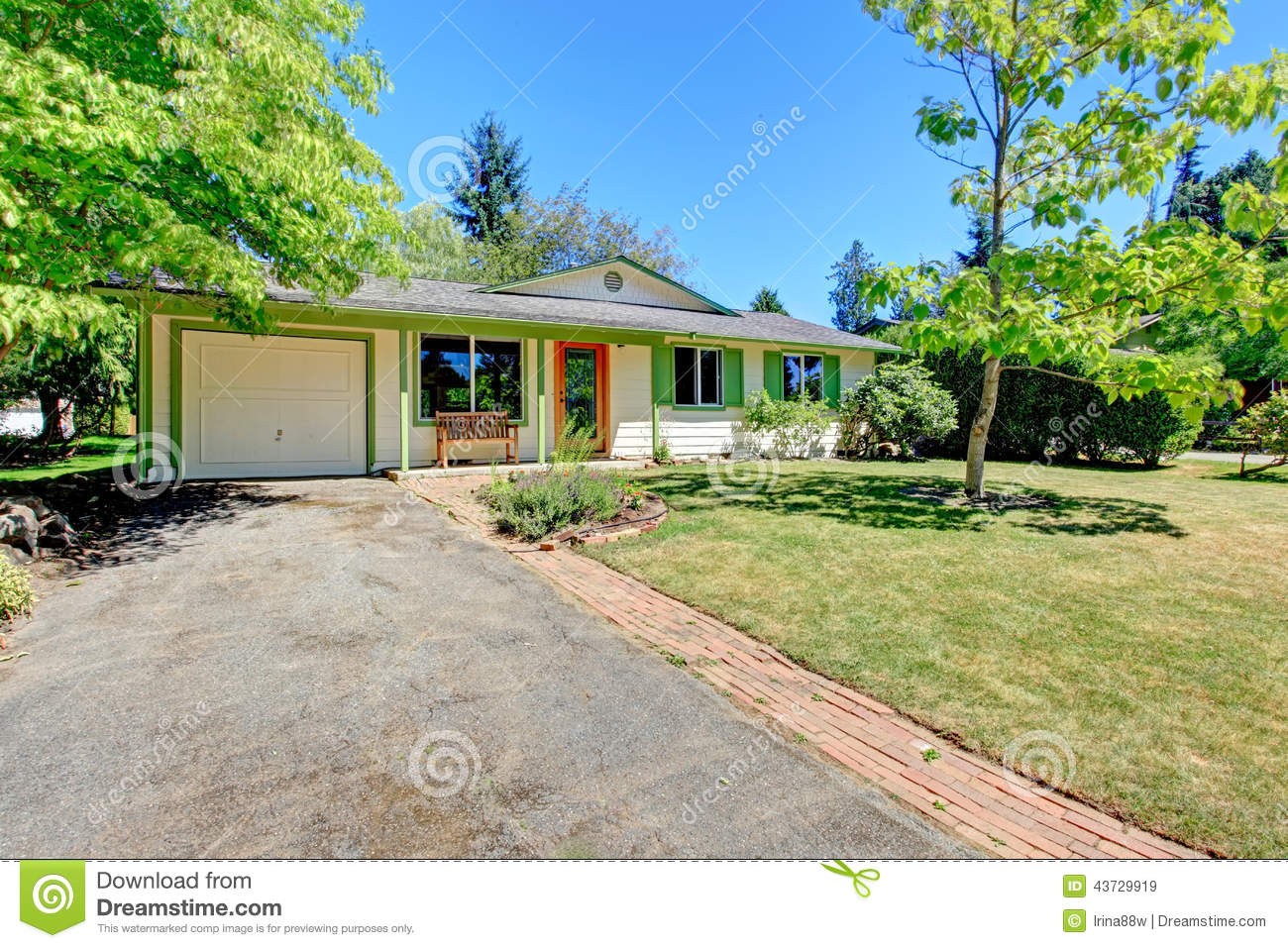 American house with entrance porch and garage stock photo for Entrance from garage to house