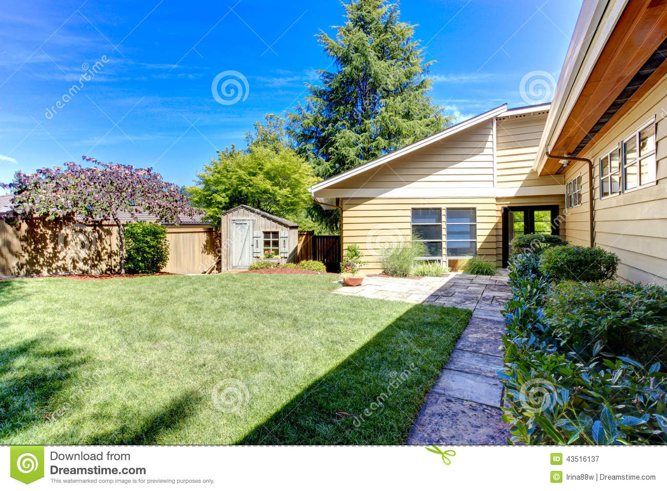 American House Exterior Green Backyard With Trees And