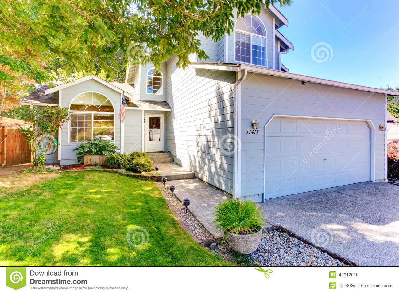 American house exterior with landscape stock photo image for Exterior landscape design