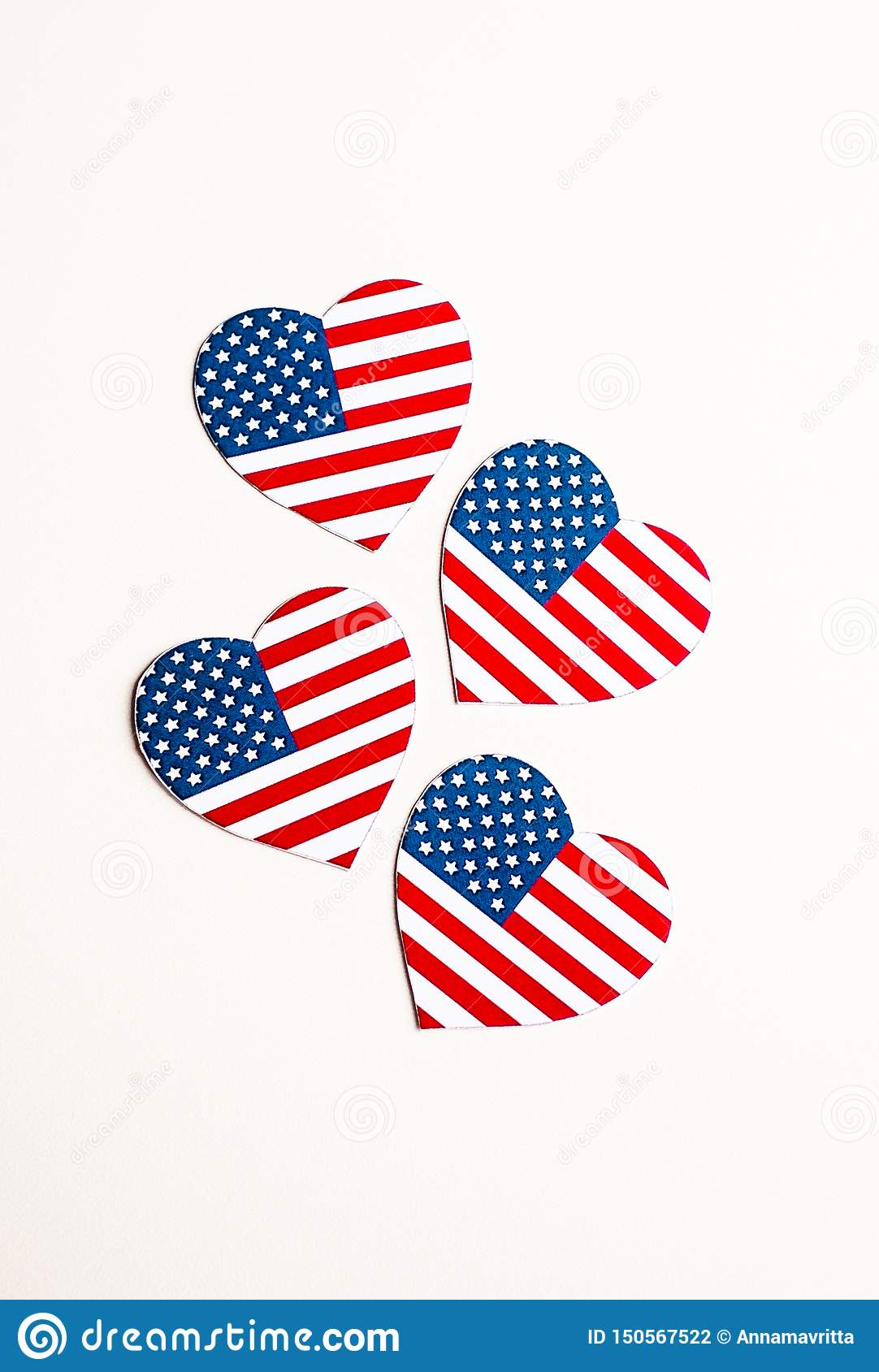 American Independence day background with blue, white and red mixed stars and hearts. Celebration of American independence day, th