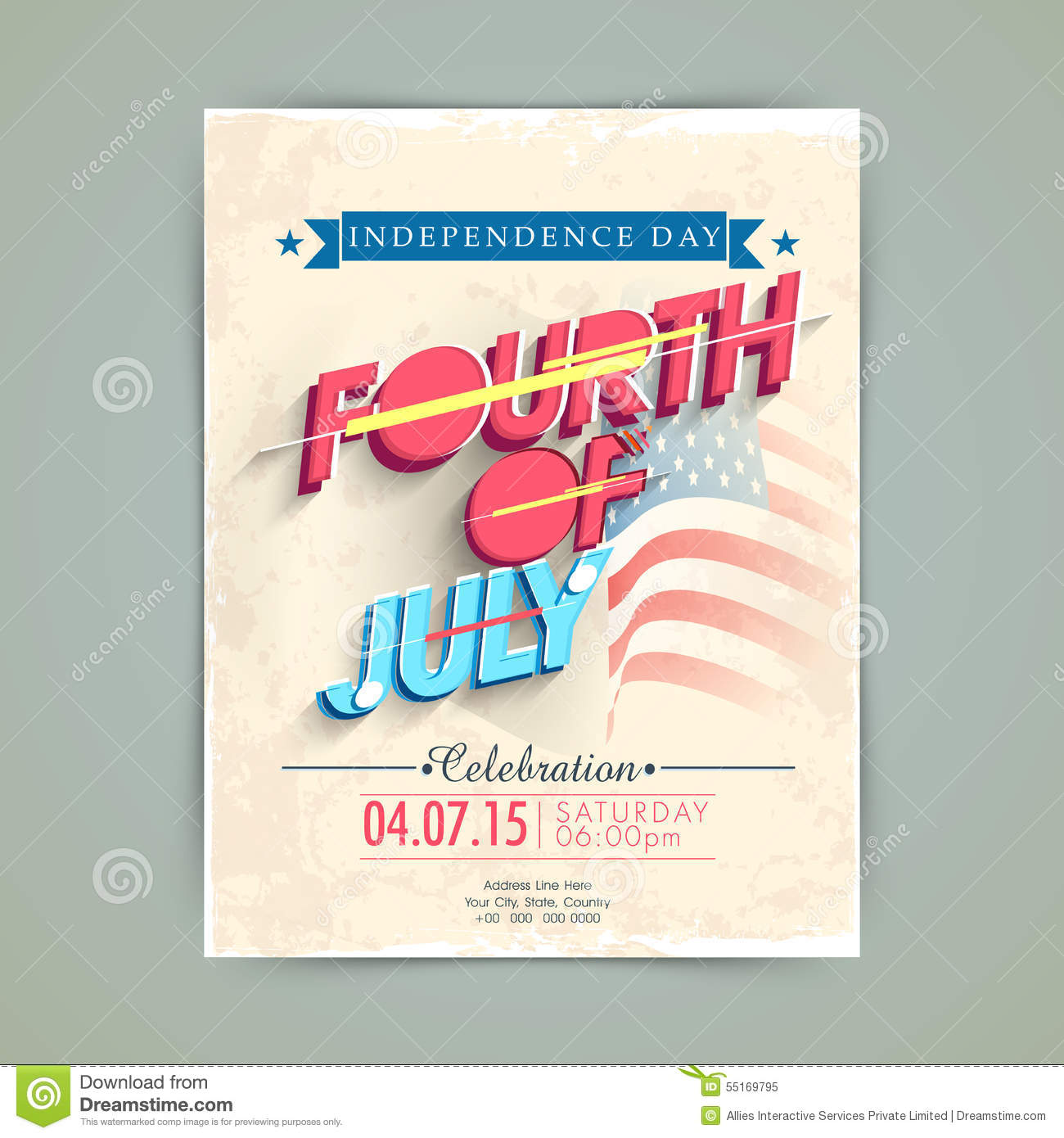 American Independence Day Invitation Card Stock