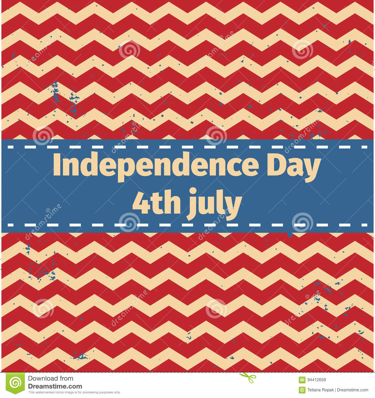 American Independence Day 4 Th July Greeting Card Design Ribbon