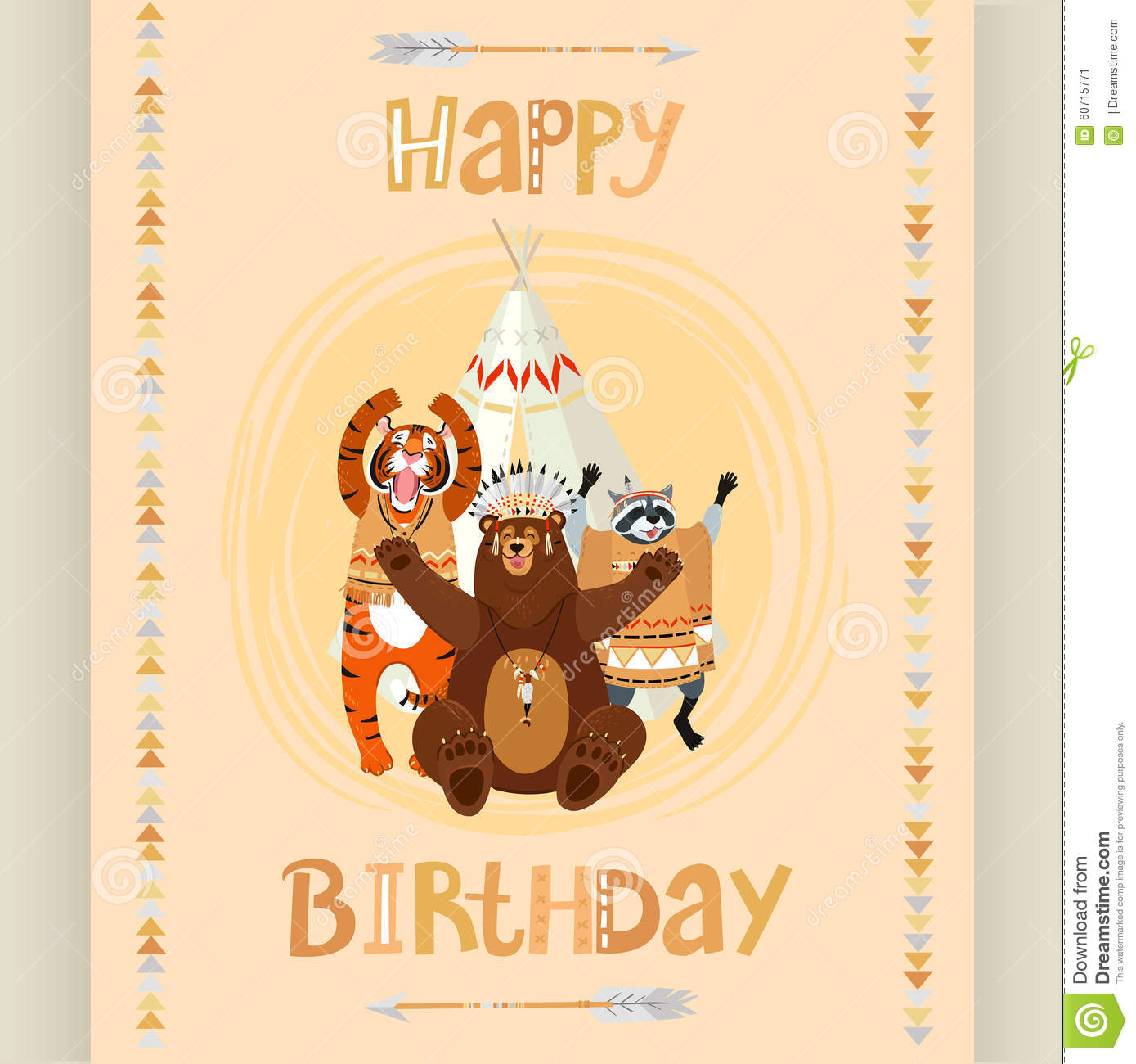 American Indian Birthday Card Vector Image 60715771 – Indian Birthday Cards