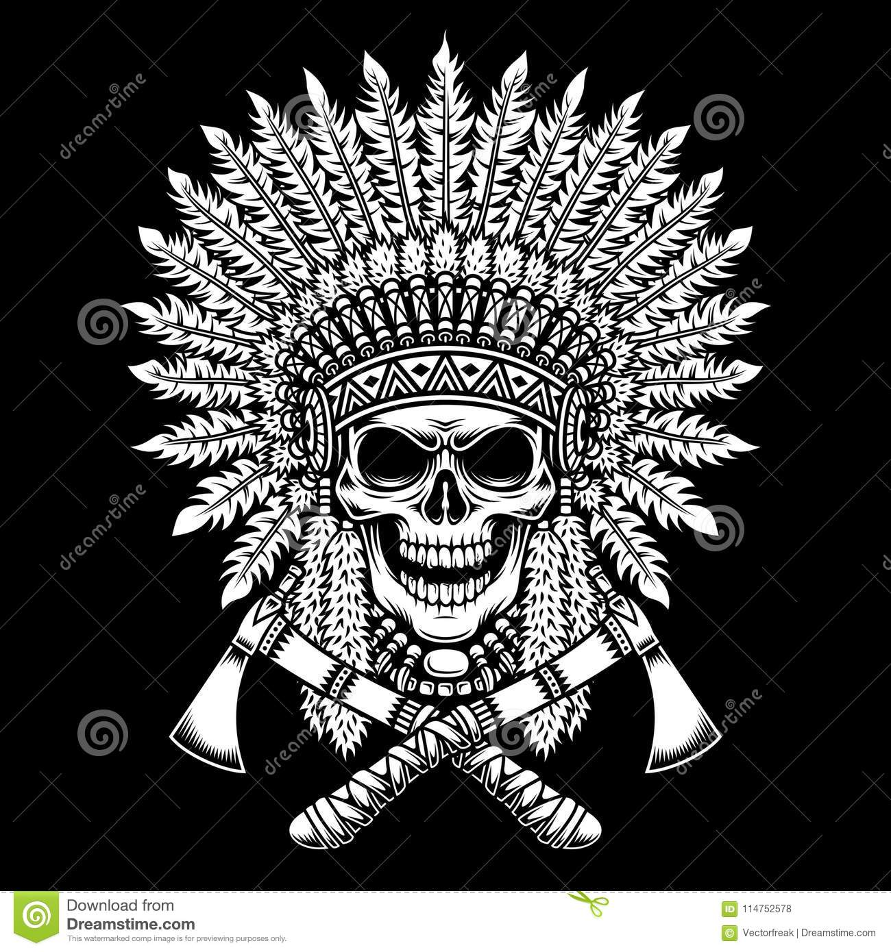 1be5ffa40 indian, chief, skull, skeleton, bones, death, head, headdress, indian  skull, tomahawk, tattoo, tribal, traditional, feather, axe, culture, native,  ...