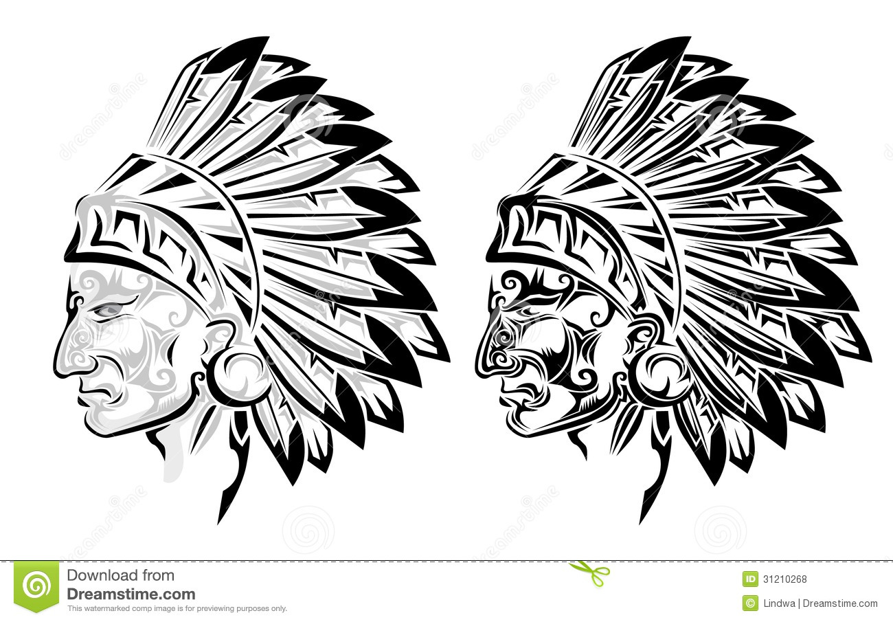3debbca4c8cc8 American Indian Chief Tattoo Stock Vector - Illustration of profile ...