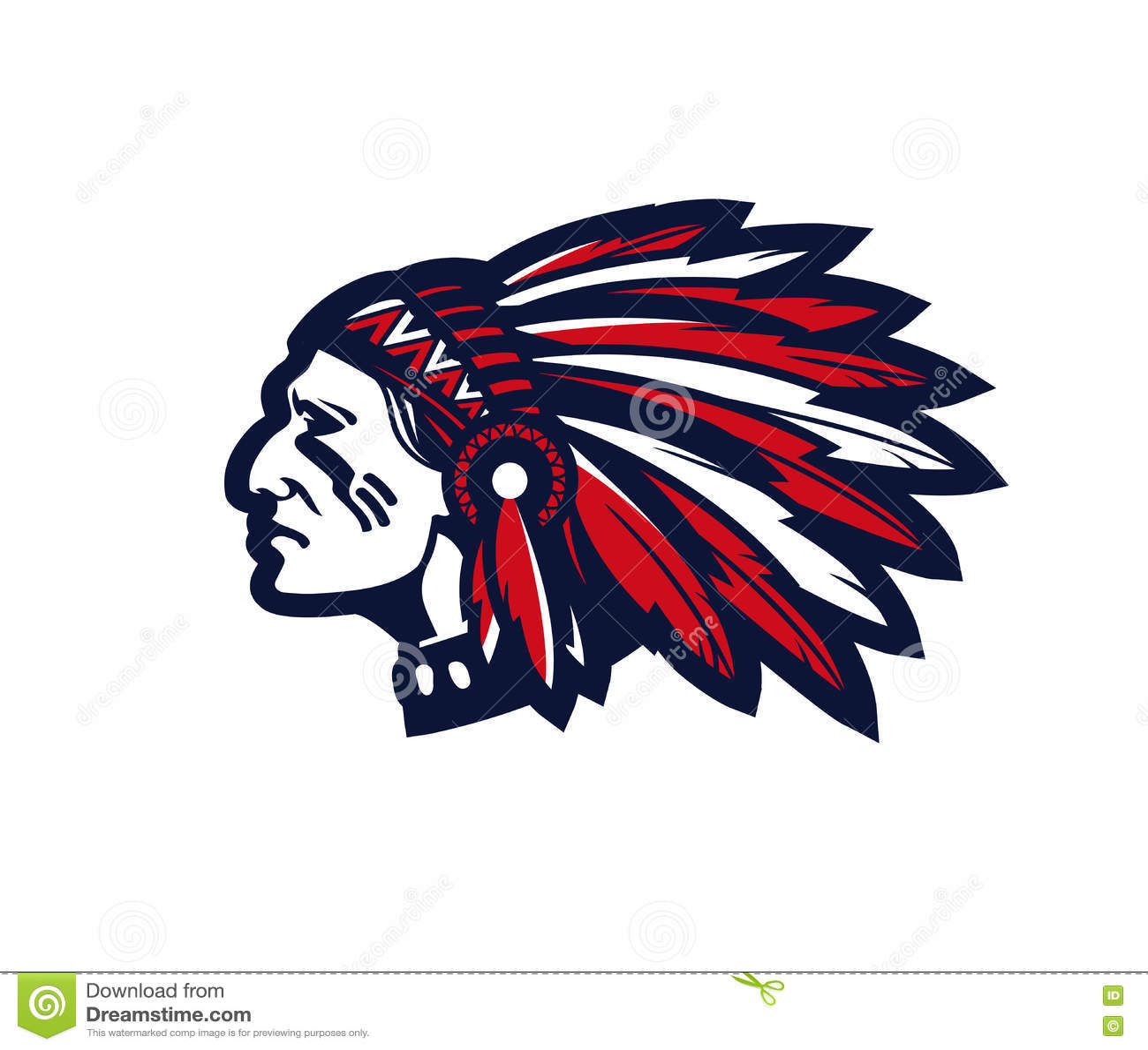 vector set of redskin icons red man  shotgun  canoe indian chief logan indian chef logos