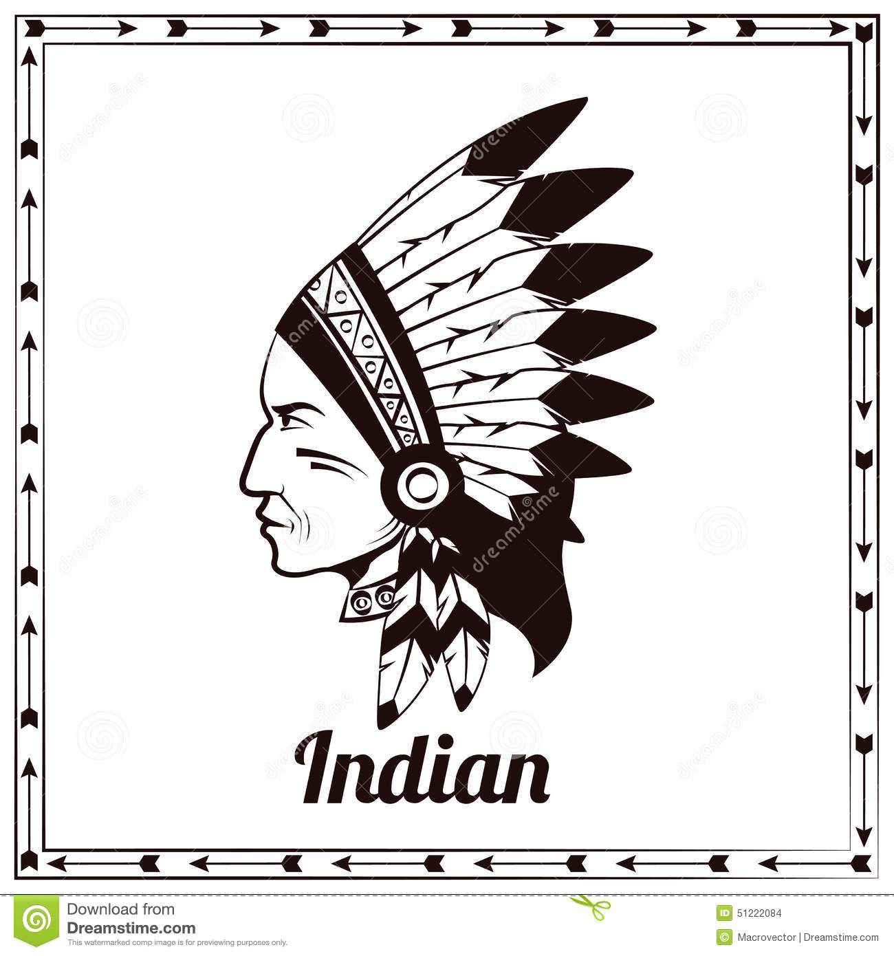 American Conductor Heads : American indian chieftain black sketch stock vector