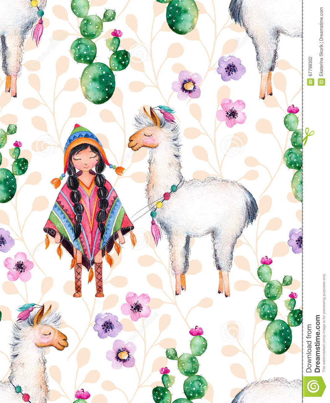 American Indian girl in traditional poncho and lama.