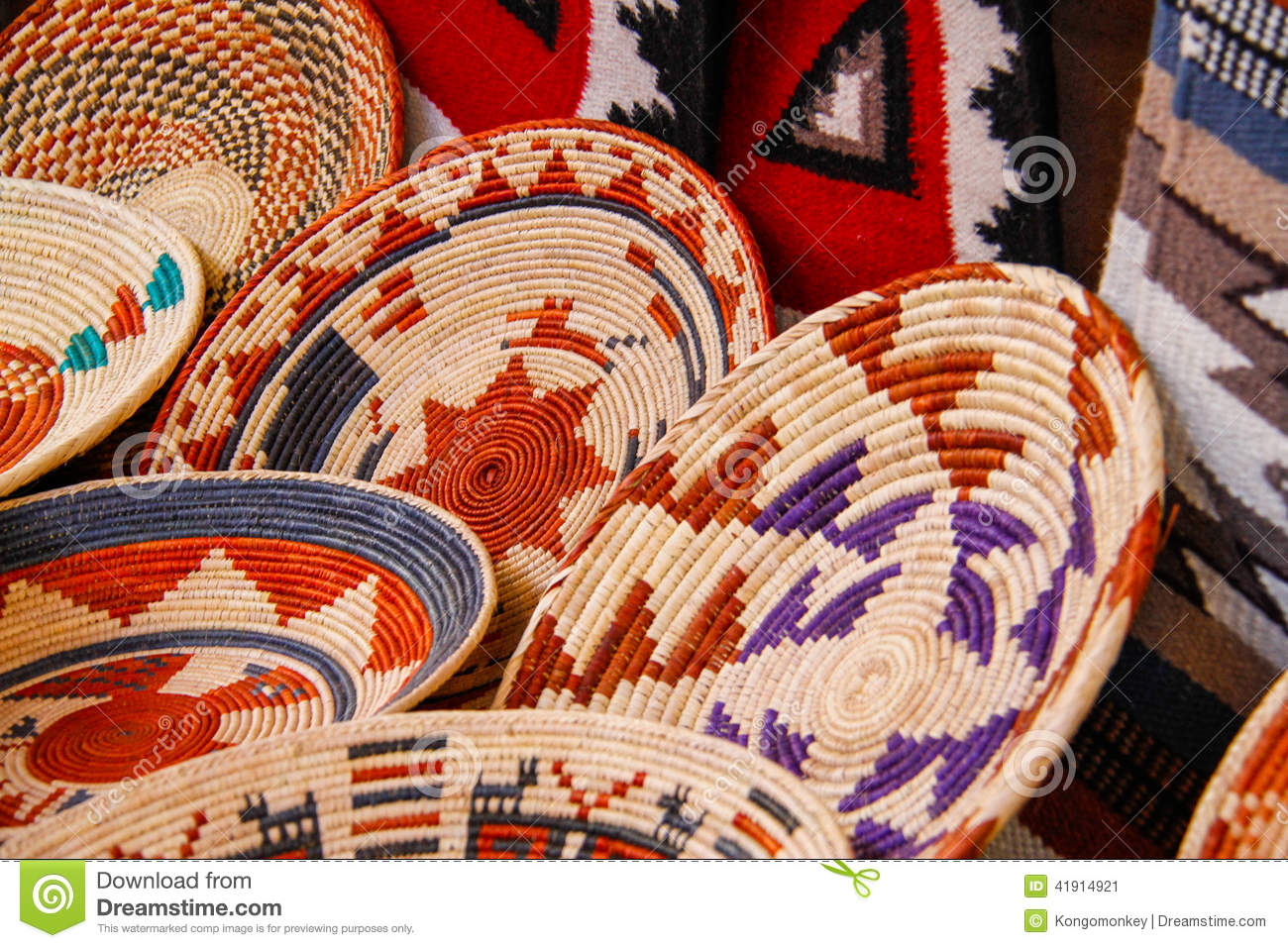 Handicraft Basketry : American indian handicraft baskets stock photo image