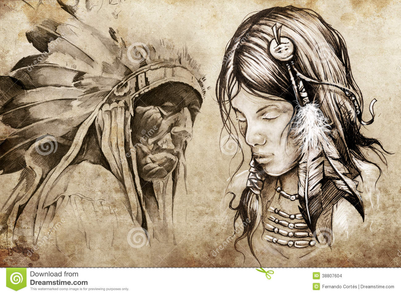 American Indian Woman Tattoo Sketch Stock Illustration
