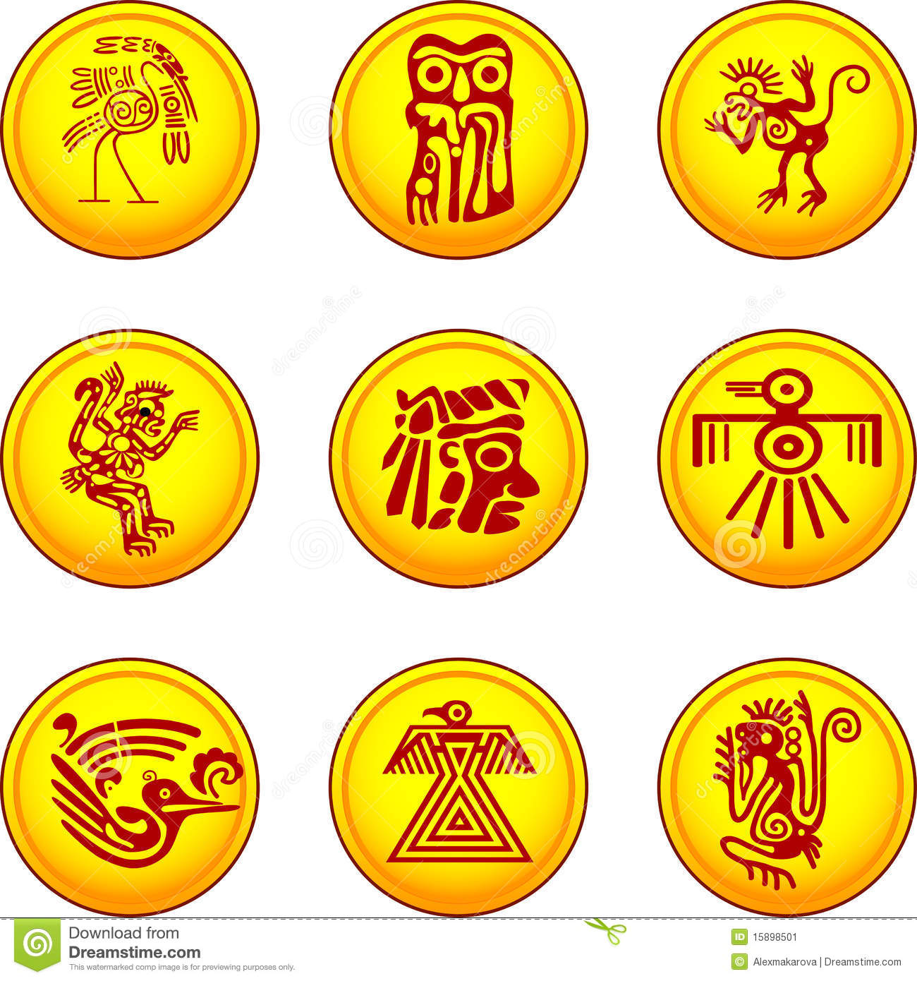 American Indians Symbols Stock Vector Illustration Of Coin 15898501