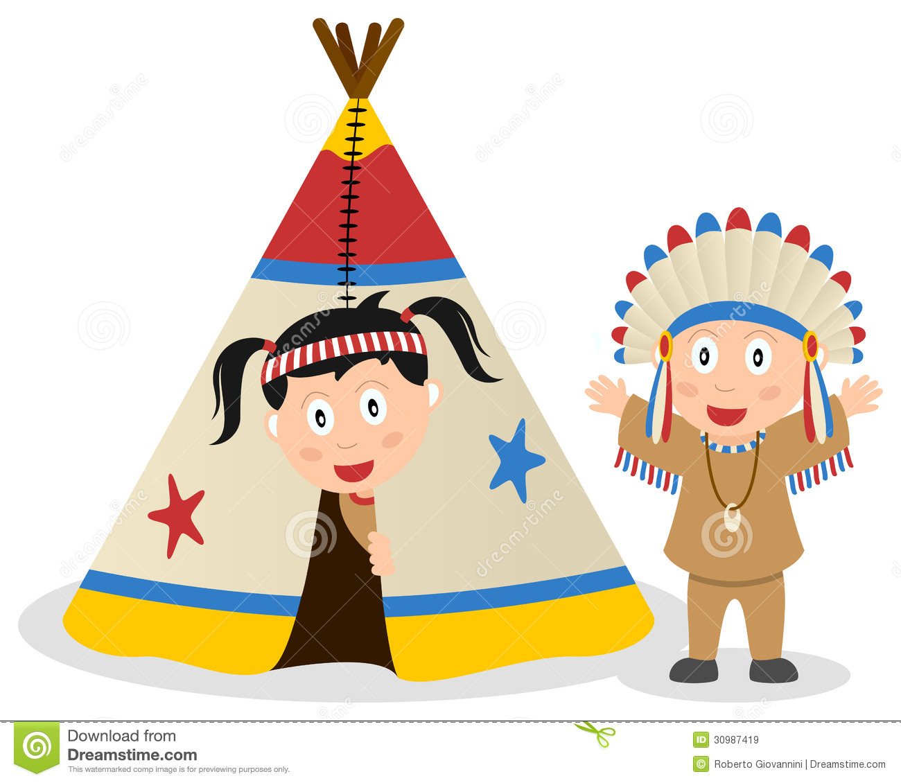 American Indians and Tepee stock vector. Image of children ...