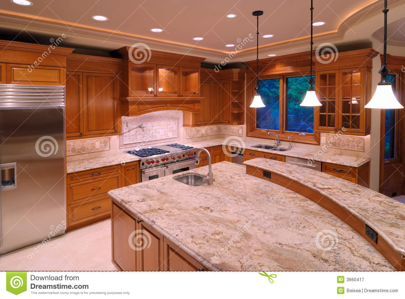 American kitchens stock image image of mansion ceiling for Cuisines americaines de luxe