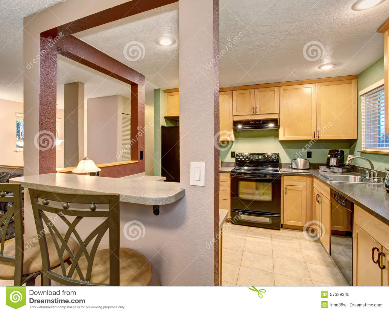 american light wood kitchen interior. stock photo - image: 57329345
