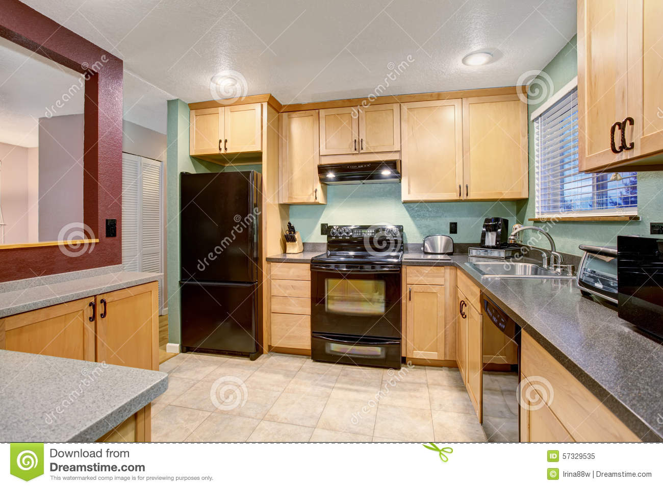 American light wood kitchen interior stock image image for House kitchen cabinets