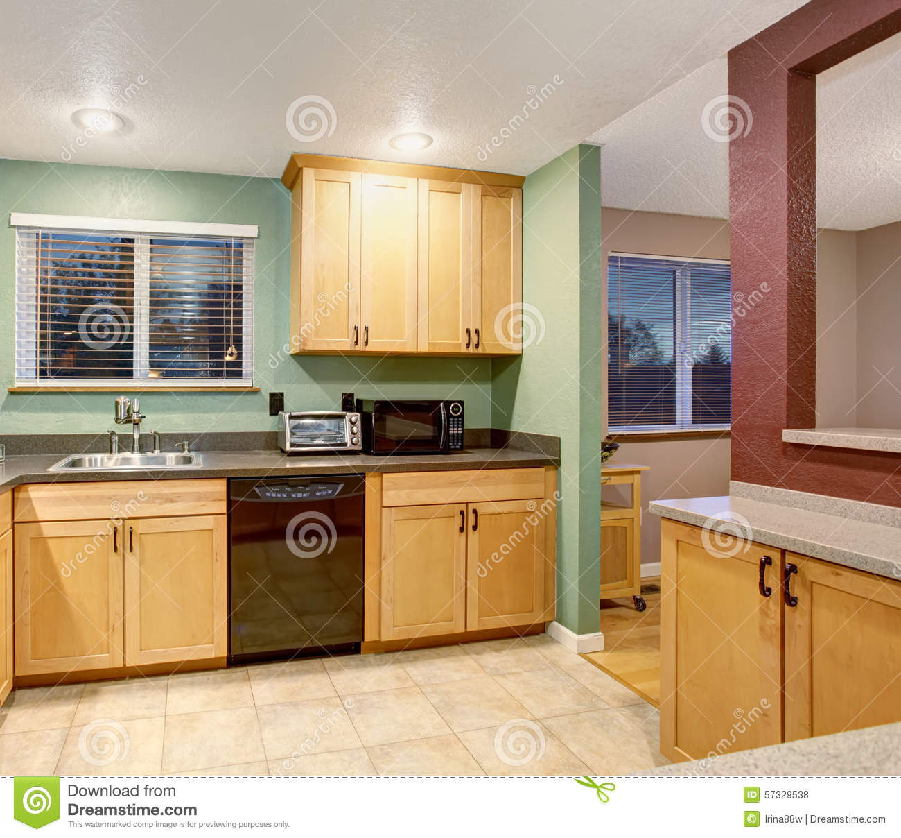 American Light Wood Kitchen Interior Stock Photo Image