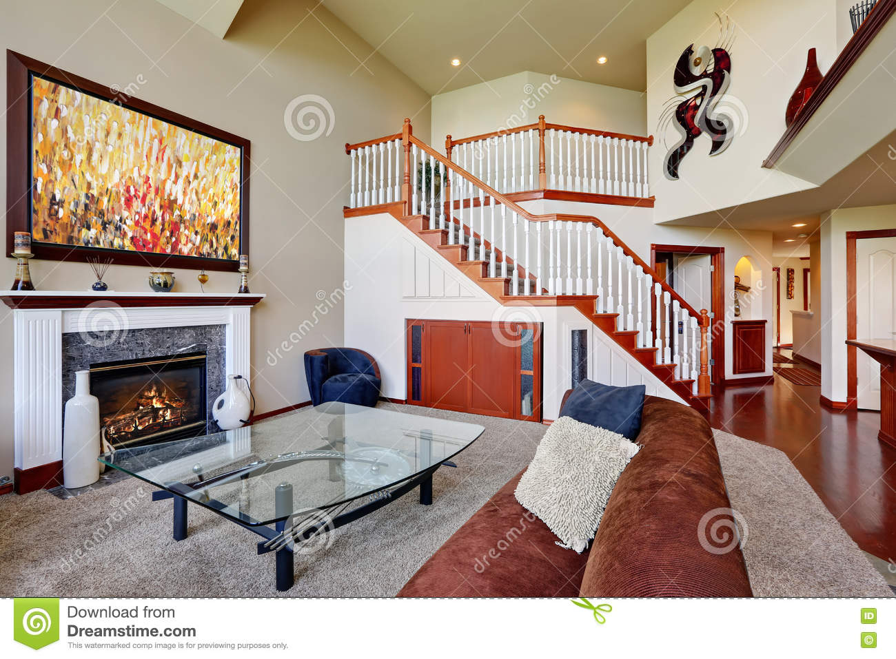 american living room with high vaulted ceiling and staircase stock image image of building. Black Bedroom Furniture Sets. Home Design Ideas