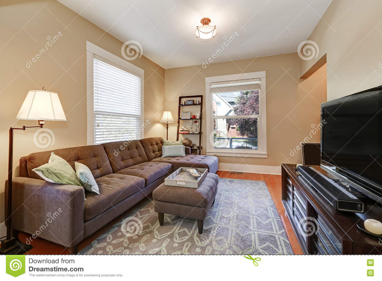Living Room Set With Free Tv American Living Room Interior With Brown Corner Sofa Stock Photo