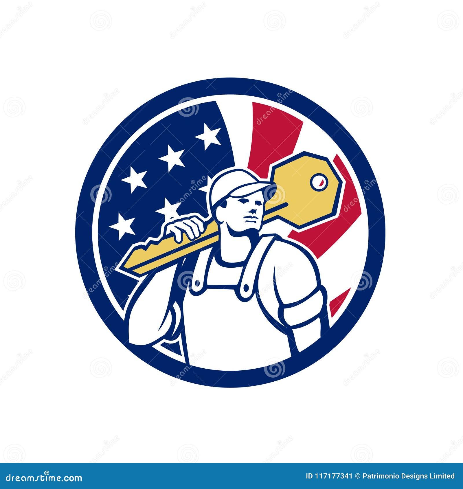 American Locksmith Usa Flag Icon Stock Vector Illustration Of