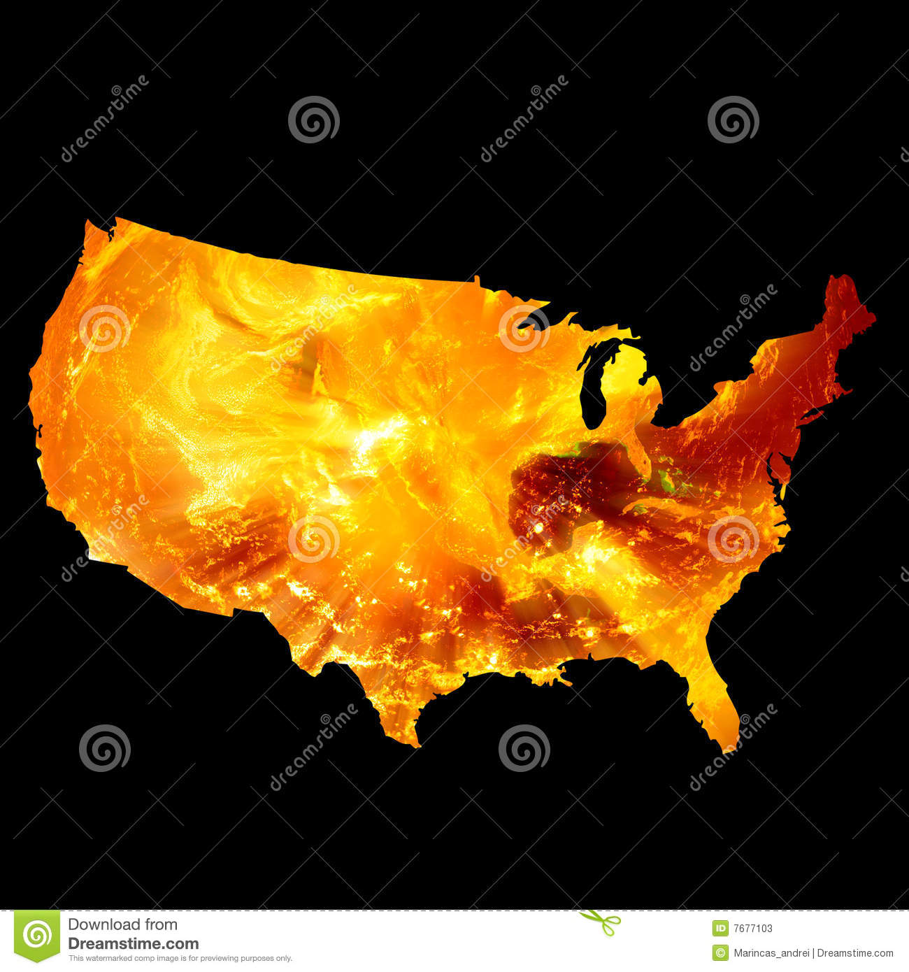 American map on fire stock illustration. Illustration of nuclear