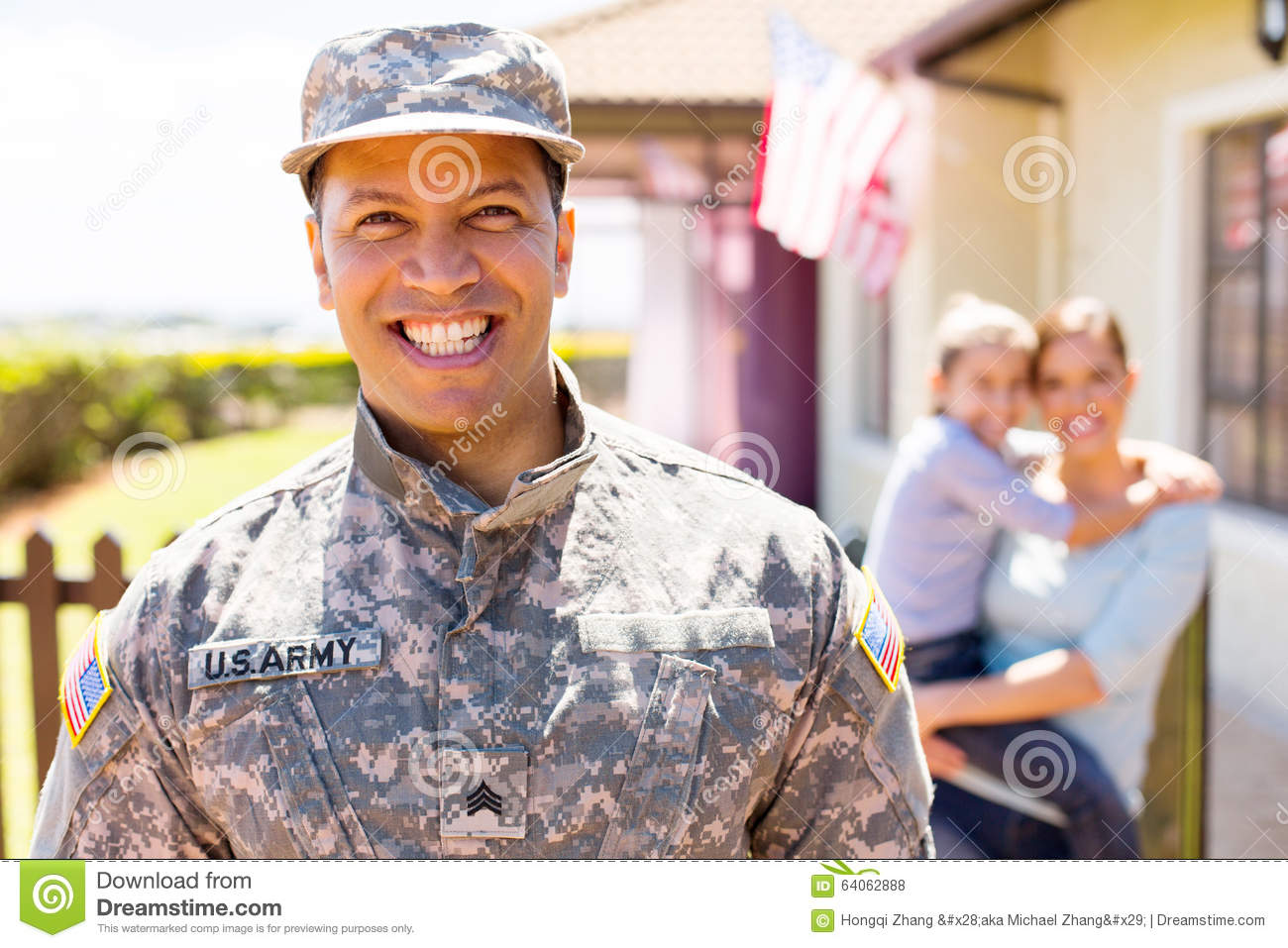 American military soldier standing