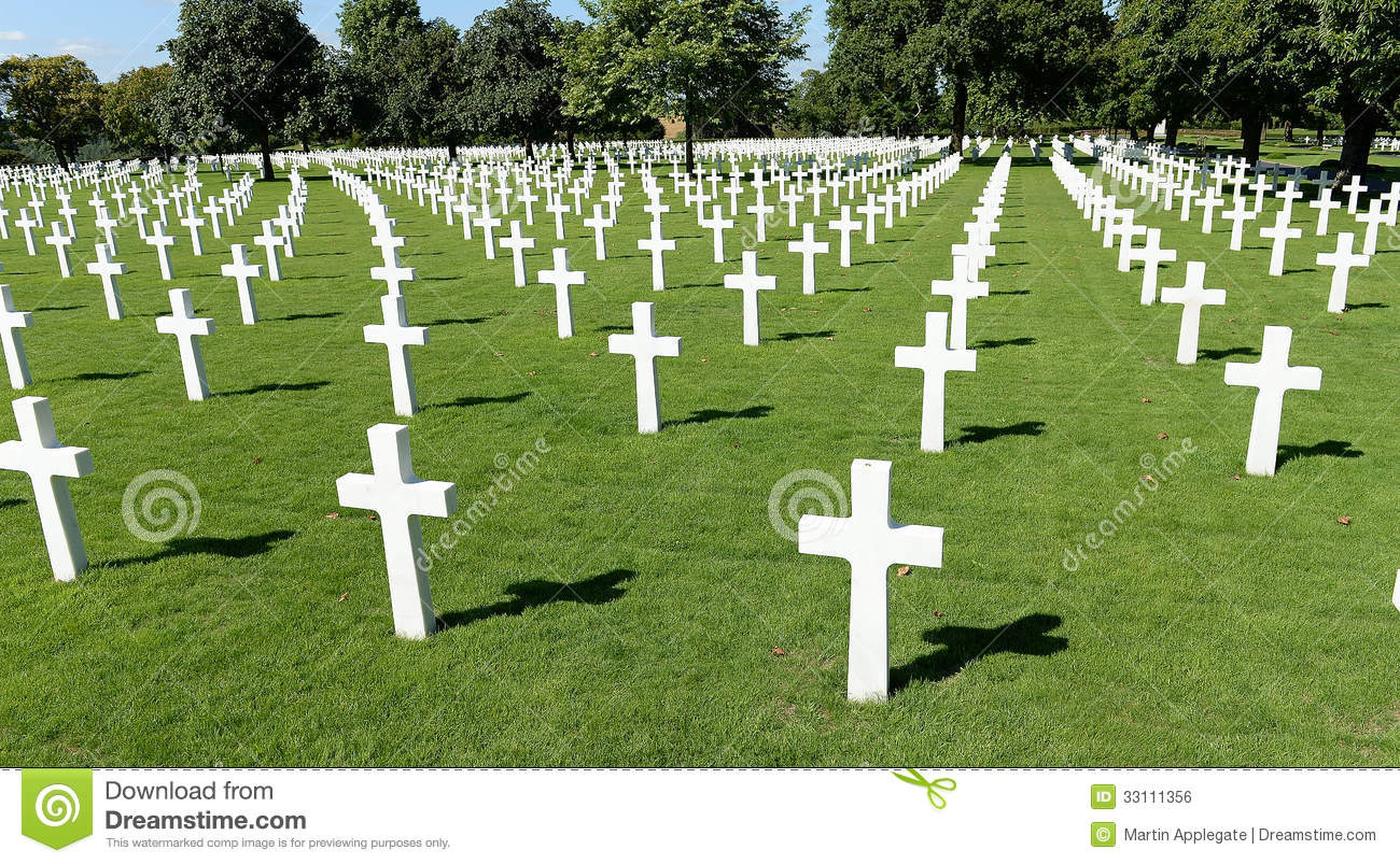 This image has an empty alt attribute; its file name is american-military-war-cemetery-rows-white-crosses-receding-distance-brittany-france-33111356.jpg