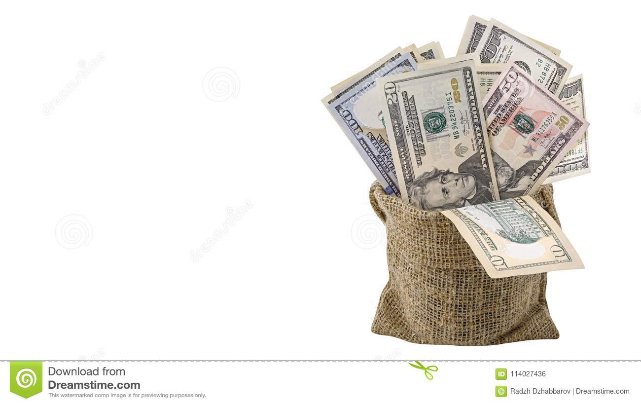 American money 5,10, 20, 50, new 100 dollar bill in bag isolated on white background clipping path. Pile US banknote