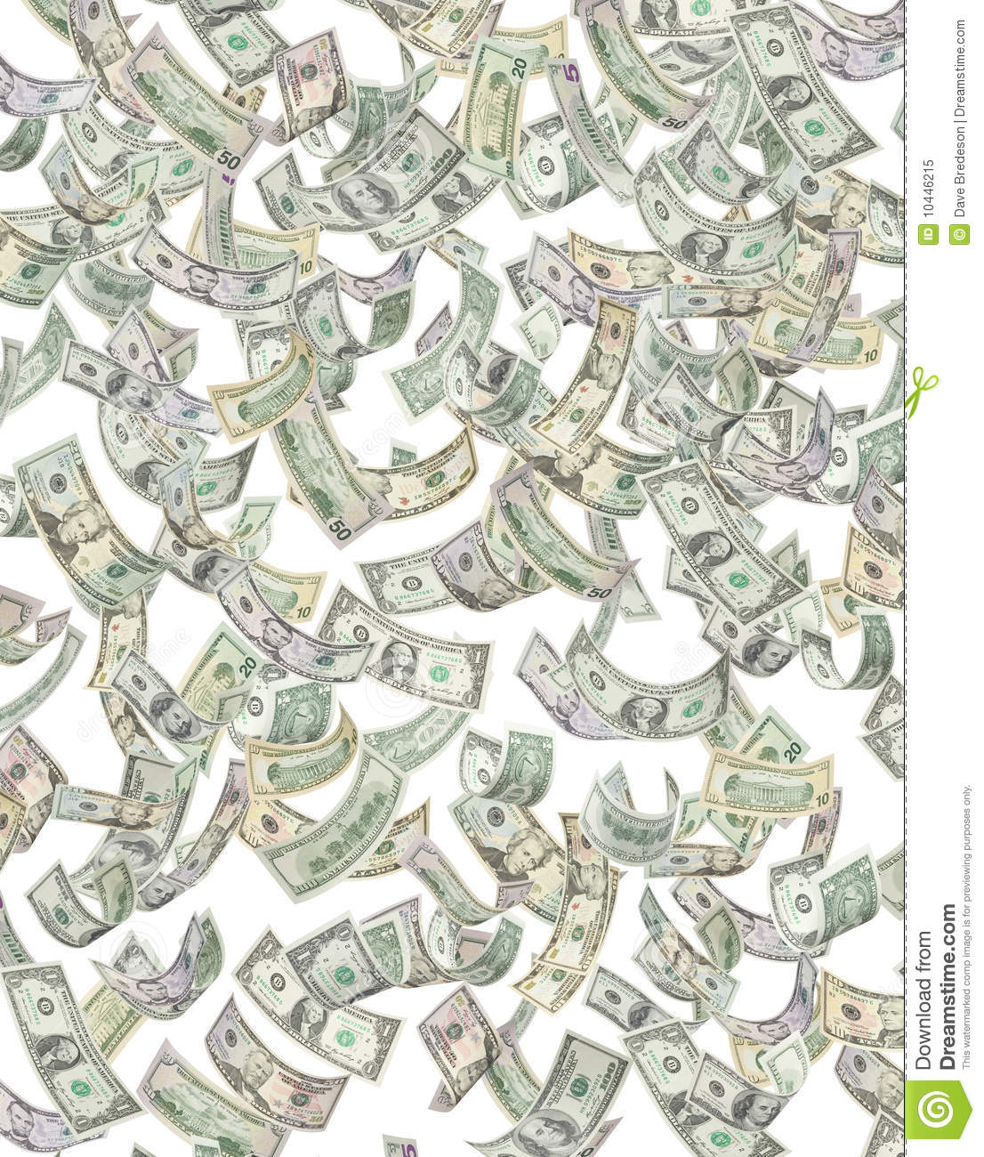 American Money Raining Down Dollars Stock Illustration