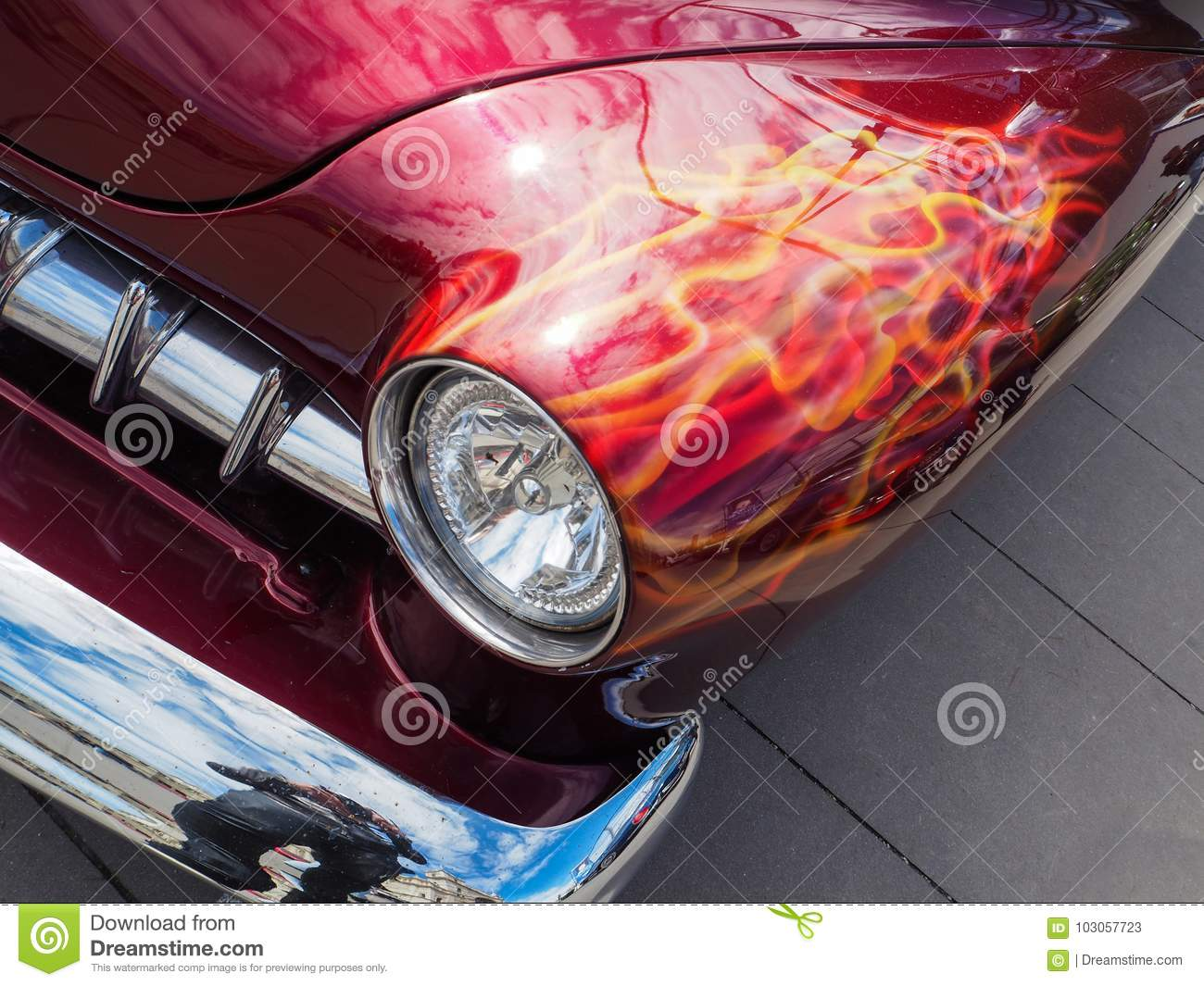 American Muscle Car With Custom Paint Job Stock Image Image Of