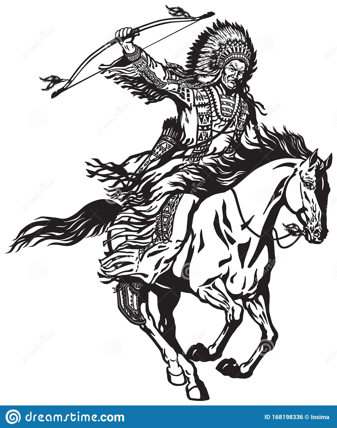 American Native Indian Chief On A Horseback Stock Vector Illustration Of Horse Prairie 168198336