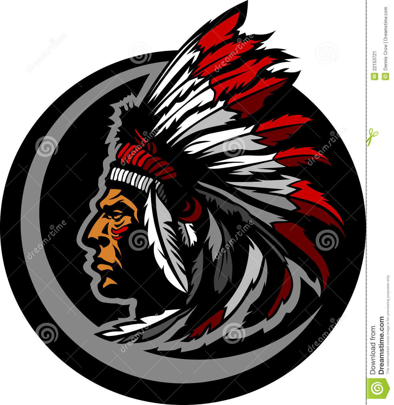 american native indian chief mascot head graphic stock Old Chief Indian Funny Indian Chief