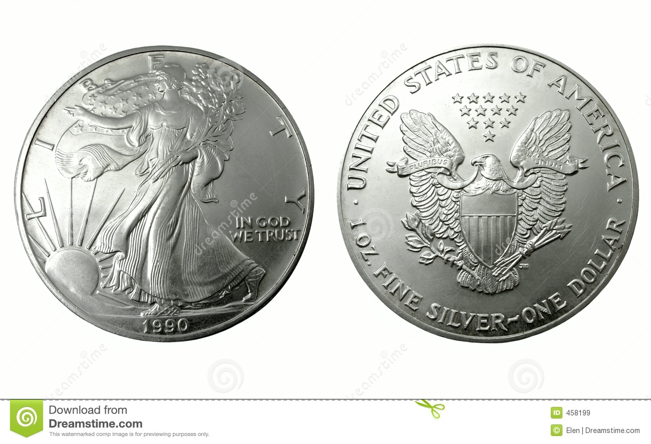 Download American One Silver Dollar, Two Side Stock Image - Image of collect, america: 458199