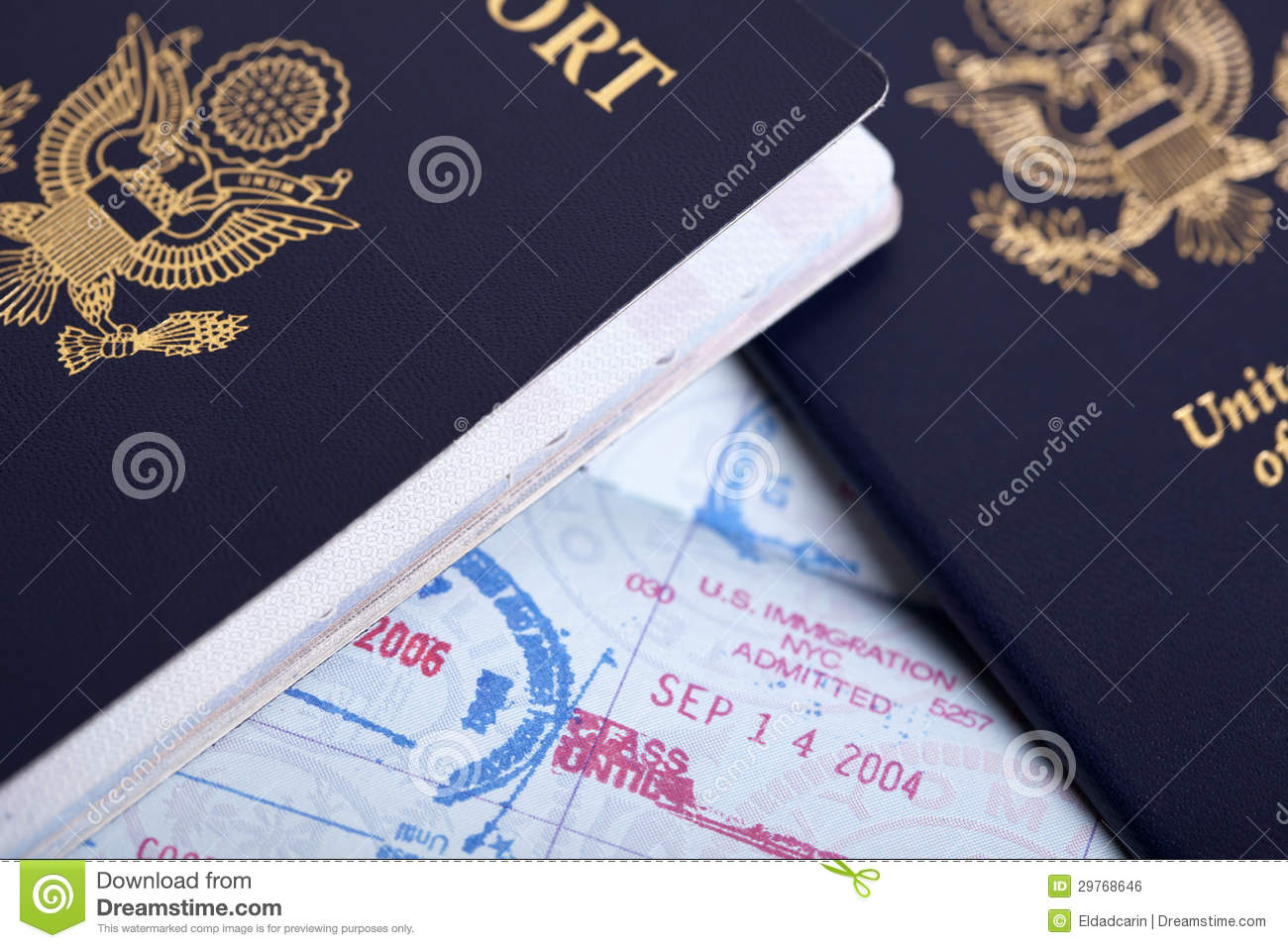 American Passports & Immigration Stamps Background Royalty ...