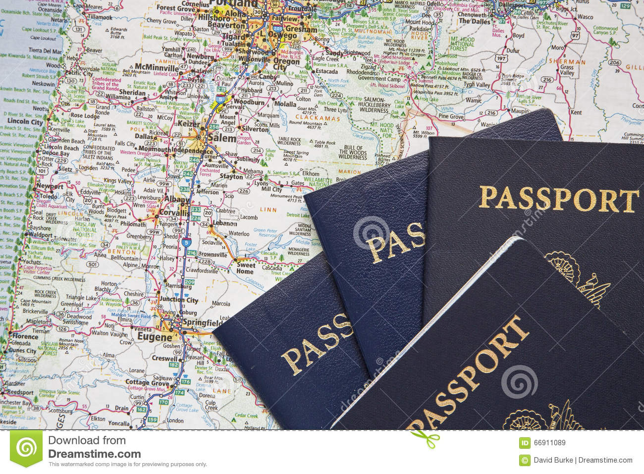 American Passports Travel Road Map Background Stock Photo ...