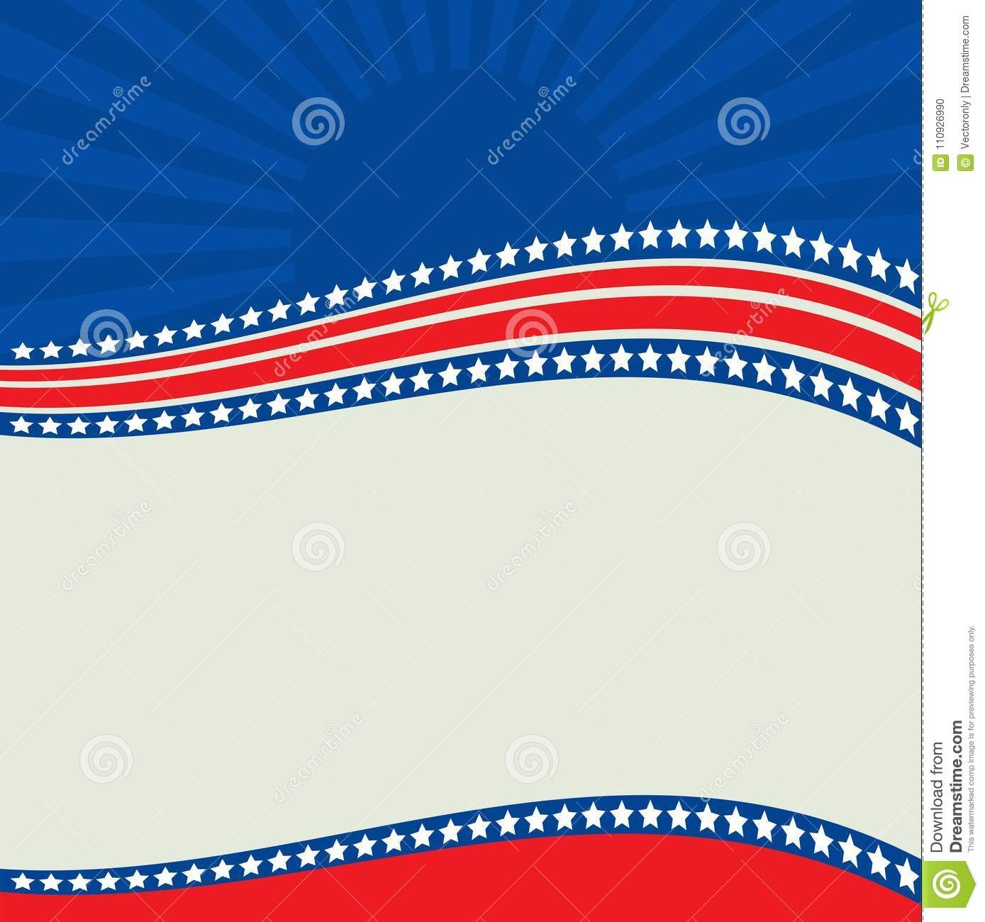 American Patriotic border, background, with stars