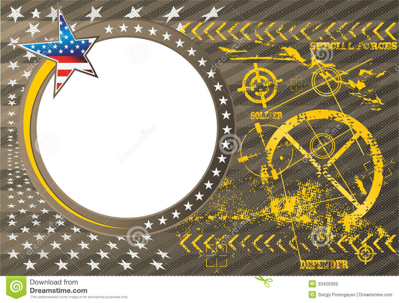 american patriotic vector photo frame in a military stock