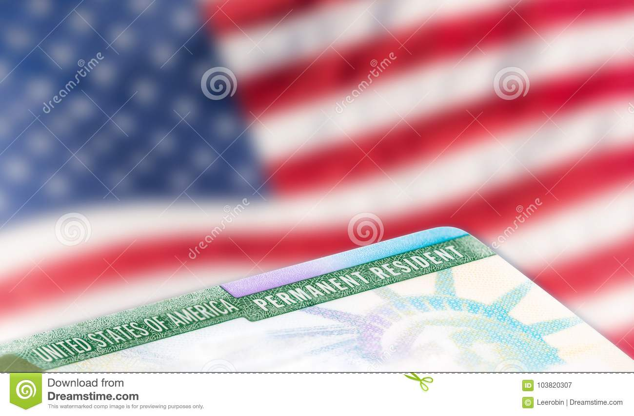 American permanent resident card, immigration concept