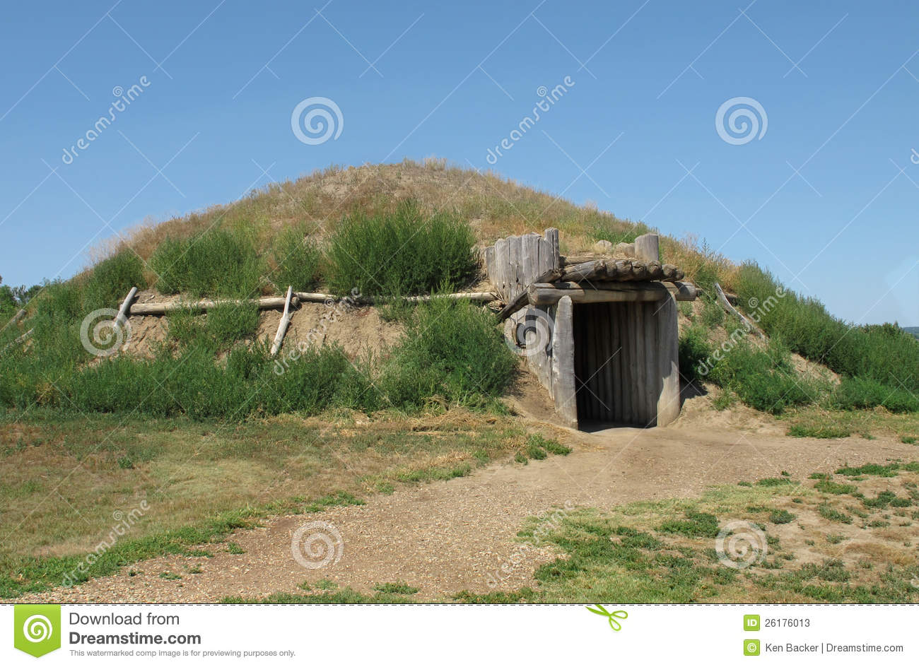 Native american lodge house american plains indian earth house stock