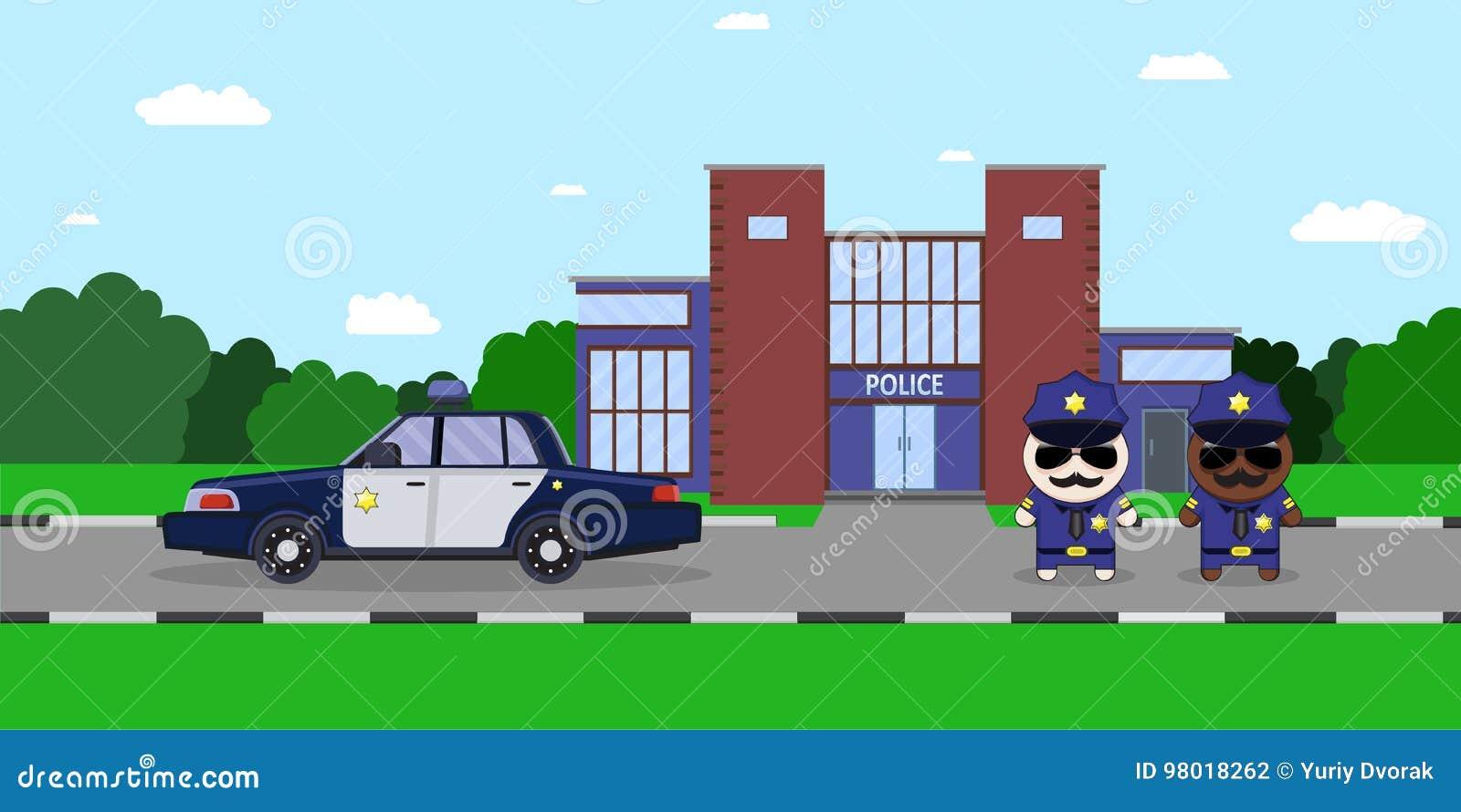 police officer on the city street cartoon vector