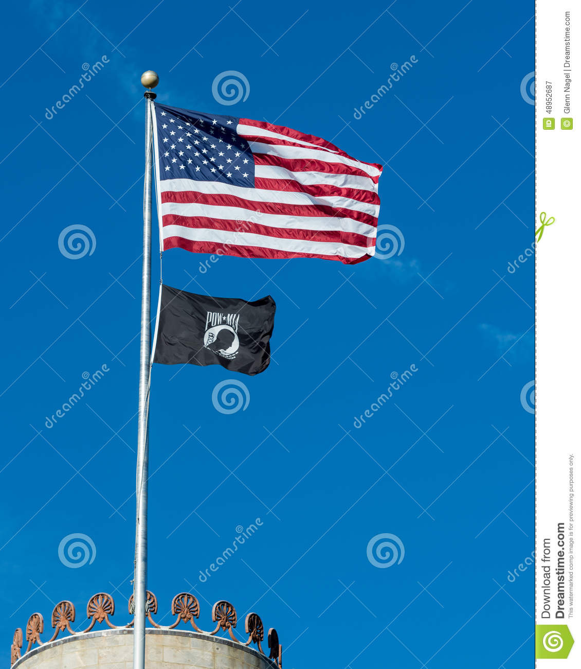 American And POW/MIA Flags Stock Photo - Image: 48952687