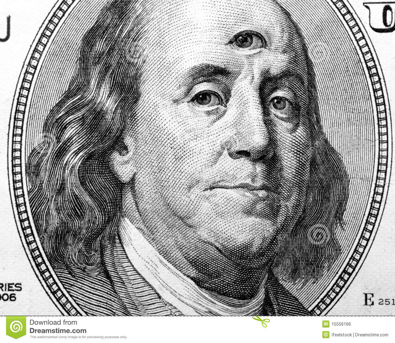 This photograph represent benjamin franklin portrait with open third