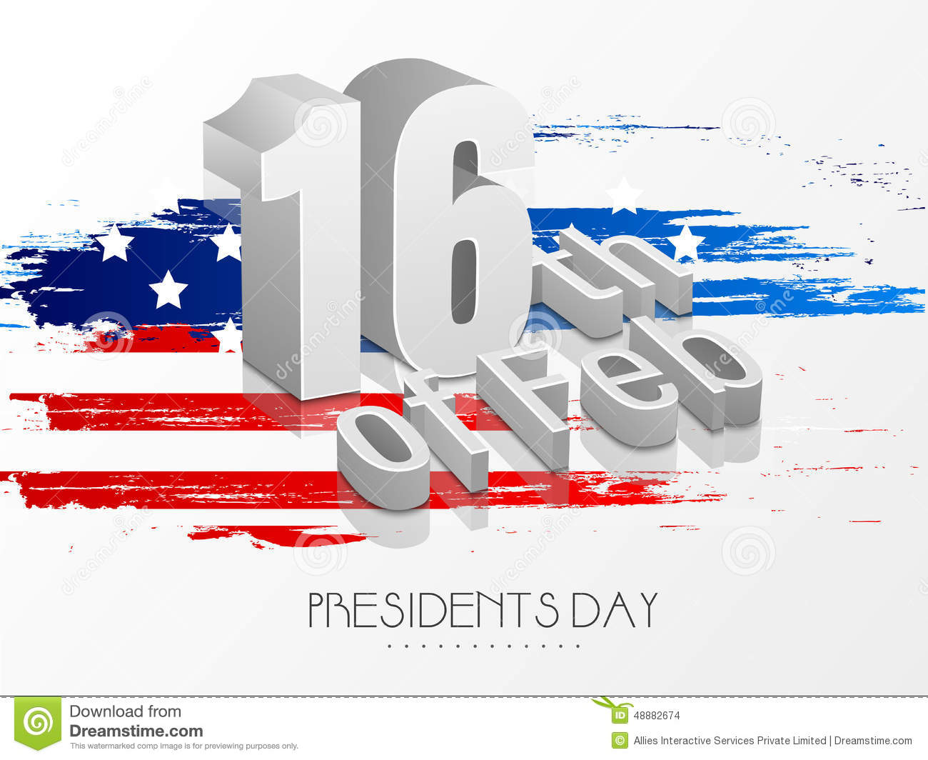 American presidents day celebration with 3d text stock for Th background color